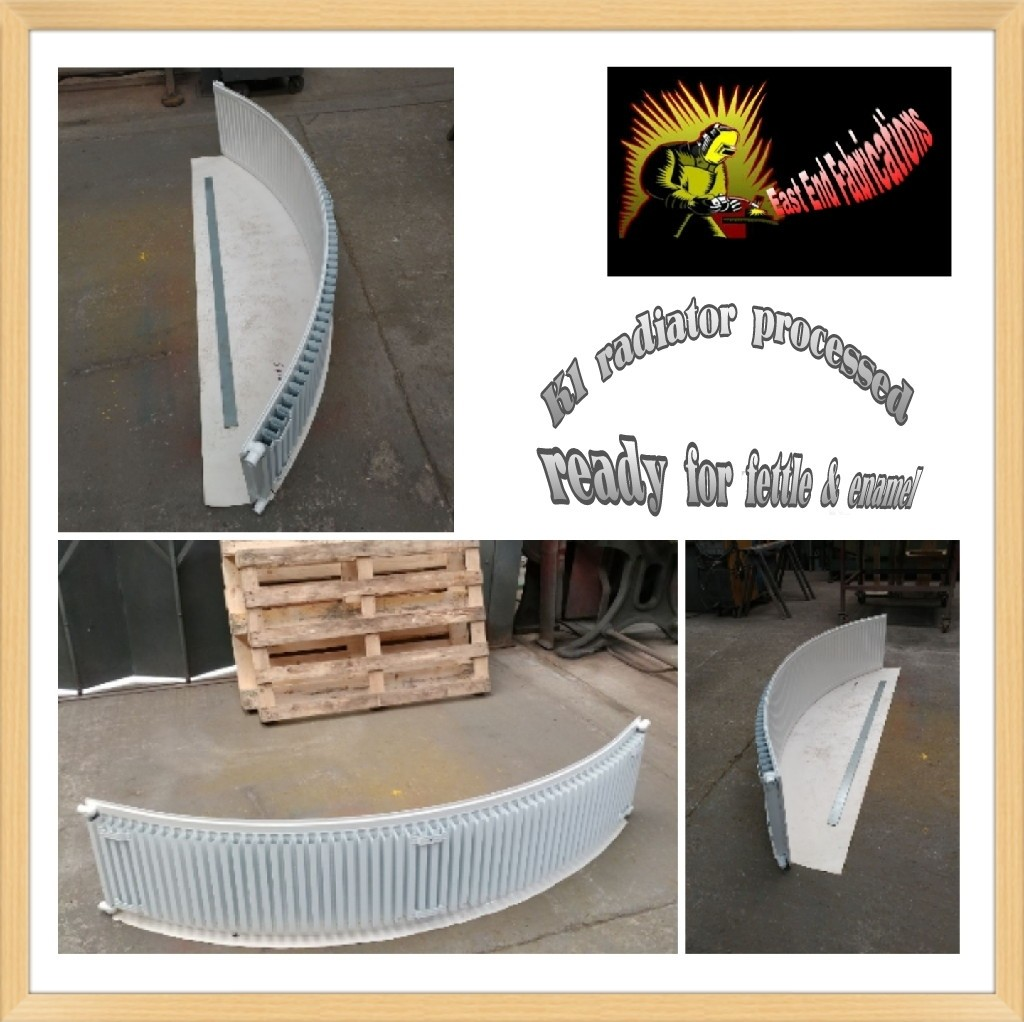 F1 curved finned radiator Angled East End Fabrications Sheffield welders mig welders stick welders tig welders welding metal work metal workers fabrication engineers